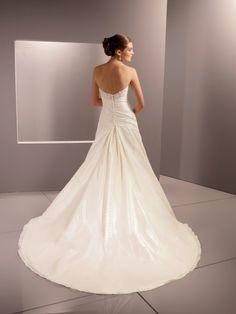 princess wedding | Gorgeous Satin/Organza Strapless Princess Wedding Dress