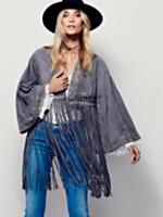 Dramatic Sleeve Suede Kimono | Super luxe shrunken suede kimono featuring beaded embellishment and dramatic bell sleeves. Free falling fringe hem with braided detail makes for an effortless fluidity.