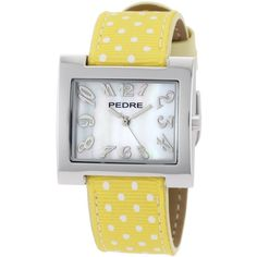Pedre Yellow Polka Dot Grosgrain Strap Silver-Tone Watch (€21) ❤ liked on Polyvore featuring jewelry, watches, pedre watches, silver tone jewelry, silver tone watches, silvertone jewelry and silvertone watches