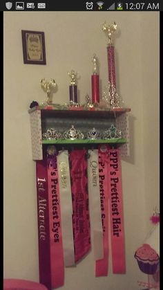 Pageant Sash, Crown, and Trophy  Display Shelf