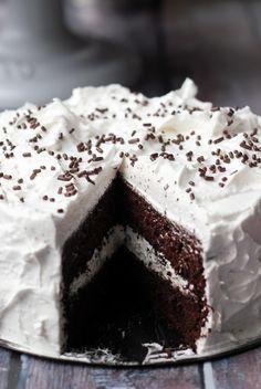 Devil's food cake with angel frosting...brings back wonderful memories of my childhood
