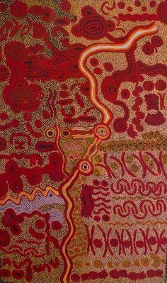 David Miller Wati Ngintaka Acrylic on linen, 200 x 120 cm Tjungu Palya APY Lands.  For more Aboriginal art visit us at www.mccullochandmcculloch.com.au #aboriginalart #australianart #contemporaryart