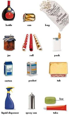 Containers and Packaging Vocabulary in English - ESLBuzz Learning English British English, English Fun, Learn English Words, English Study, English Lessons, English Class, Learning English For Kids, English Language Learning, Teaching English