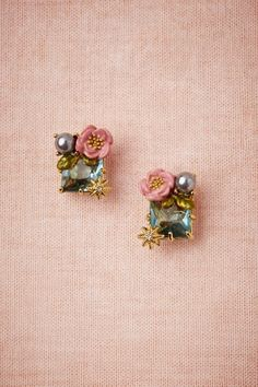 Blue Pink Teal Stud Earrings Hand-faceted crystal drops with side accented enamel and 14k gold rosettes offer exquisite sparkle.