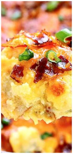Twice Baked Potato Casserole ~ The ultimate comfort food... Baked potatoes, shredded cheddar cheese, green onion, cream cheese, sour cream and the final pop of flavor, the bacon!