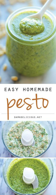 Easy Homemade Pesto - No need for store-bought pesto anymore. This recipe is so easy - made in 5 min with only 5 ingredients!