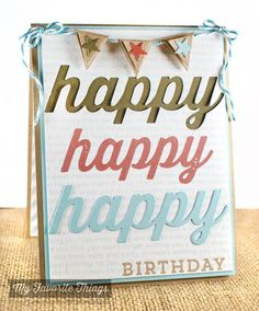 Diagonal Stripes Background, Happy Birthday Background, Happy Everything, Blueprints 17 Die-namics, Happy Die-namics - Cindy Lawrence #mftstamps