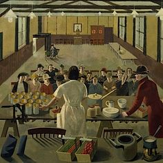 A Canning Demonstration (art) Made by: Dunbar, Evelyn Mary 1940 image: interior of a village hall with two women demonstrating the preservation of fruit and vegetables, watched by an audience of women Women's Land Army, Womens Institute, Art Uk, Your Paintings, Art Reproductions, Painting & Drawing, Illustration Art, Illustrations, Canvas Prints