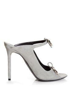 Balenciaga Bouclé-bow suede mule sandals.