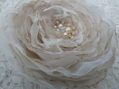Ivory Cream Champagne Fabric Wedding Flower by BananaSueBoutique, $19.50