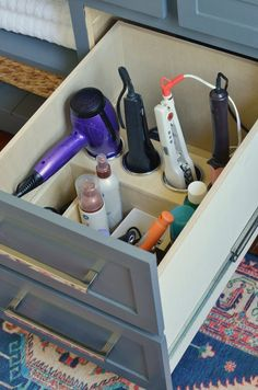 Custom Vanity Drawer Organizer for Hair Tools / Hot Tools / Hair Devices - Futu .Custom Vanity Drawer Organizer for Hair Tools / Hot Tools / Hair Devices - Future Home! Bathroom Vanity Drawers, Bathroom Drawer Organization, Organization Hacks, Organizing, Bathroom Mirrors, Custom Bathroom Cabinets, Vanity Cabinet, Organize Bathroom Drawers, Vanity In Closet
