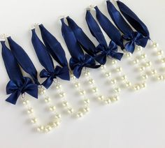 5 Silk Ribbon Pearl Necklaces in Midnight Navy Blue and White  - Blue Wedding Necklaces - Bridesmaids - Brides. $135.00, via Etsy.