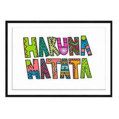 Affiche encadrée Hakuna Matata  Blanc et multicolore  70 x 1,6 x 50 cm