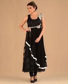 Black Lace & Crystal Suit Set By Regalia #Bridalwear #Indian #Ethnic #Weddingwear
