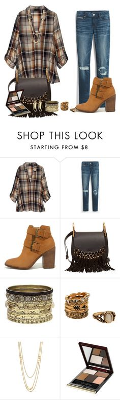 """""""Maisie Hidden Placket Blouse in Plaid"""" by akgsteeler ❤ liked on Polyvore featuring Bobeau, White House Black Market, Steve Madden, Chloé, Daytrip, Gorjana, Kevyn Aucoin and Fragments"""