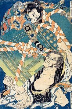 Onikojima Yatarō and Saihōin Akabōzu Katsushika Hokusai - Style - Ukiyo-e