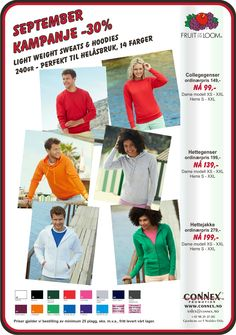 Lightweight Sweats & Hoodies from Connex Promotion AS September 2015 Campaignprice