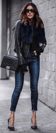 beautiful+fall+outfit+:+leather+jacket+++bag+++skinny+jeans+++heels