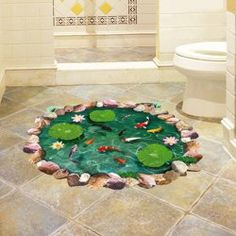 SHARE & Get it FREE | Fancy 3D Lotus Pond Design Sticker For BathroomFor…