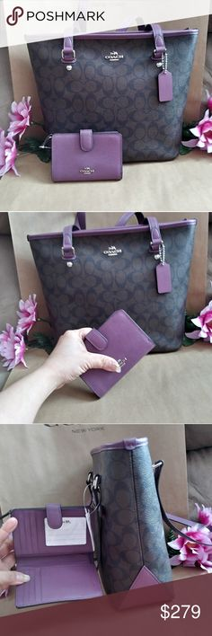 NWT coach tote shoppers purse w/ wallet NWT Coach purse bag tote shoppers Very elegant .roomy . versatile purse bag shoulder bag Handbag  Color : Plum . Dark purple. Dark brwn w/ CC initials   W/ wallet W/ compartments for bills . ID coins . credit cards other stuff Color : Dark purple             🎀🎁  PRICE FIRM. 🎀🎁 Coach Bags Totes