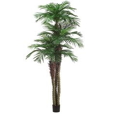 10' Areca Triple Trunk Silk Palm Tree w/Pot -Green *** Want additional info? Click on the image.