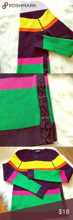 """Ralph Lauren Colorblock Sweater Beautiful RL sweater: navy, pink, green, orange, yellow. Length: 23"""" Width: 14.5"""", Sleeve Length: 25"""" Lauren Ralph Lauren Sweaters Crew & Scoop Necks"""