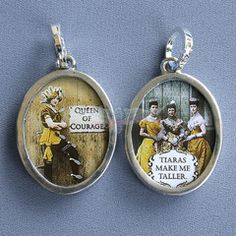 """Vintage inspired images in a reversible brushed Nickel and Pewter finish.   Comes with a 24"""" Nickel Ball Chain that can be cut to desired length.    Express Your Creative Side!   Queen of Success for $16.95   Queen of Courage for $16.95   She Swims Against The Tide for $15.95   Grow Strong for $15.95   Sole Sisters for $15.95"""