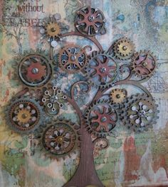 Steampunk tree art - love this! Also pinned to Steampunk Metal Projects, Welding Projects, Metal Crafts, Welding Ideas, Welding Crafts, Outdoor Projects, Scrap Metal Art, Metal Tree Wall Art, Metal Yard Art