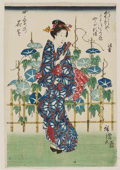 Morning Glories, from the series Flower Gardens in the Four Seasons (Shiki no hanazono) 1847–52 (Kôka 4–Kaei 5) Artist Utagawa Hiroshige I...