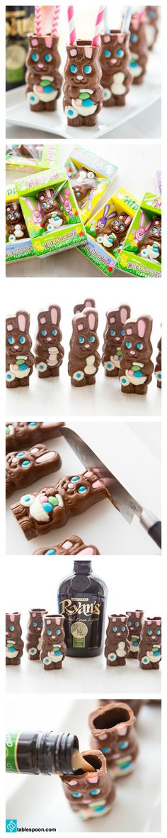 Turn hollow chocolate bunnies into delicious little shot glasses to hold Irish cream! This may be the greatest Easter idea since the invention of the egg.