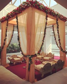 "Photo from Recreation by Narula ""Portfolio"" album Desi Wedding Decor, Wedding Hall Decorations, Wedding Stage Design, Marriage Decoration, Wedding Mandap, Backdrop Decorations, Mandap Design, Home Office, Groom Wear"