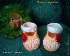 Мастер-класс Вязание спицами: Пинетки - Карамельки Пряжа. Фото 1