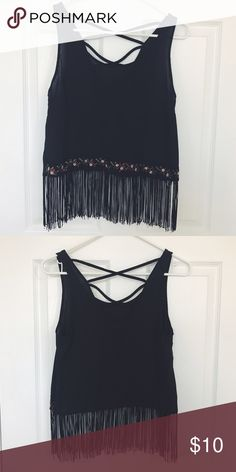 Fringe Top Black tank; the bottom has fringe and a really pretty thick floral embroidered strip <3 The back also has a criss cross design ! Like brand new ! Urban Outfitters Tops Tank Tops