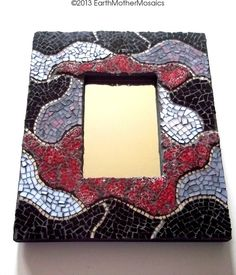 Stained Glass Mosaic Frame with Mirror Red by earthmothermosaics, $120.00