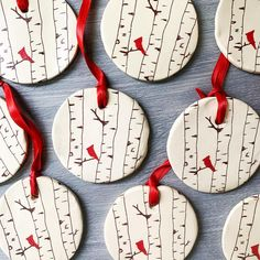 Birch Ornament with a Cardinal
