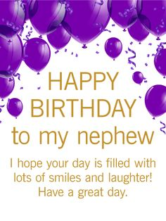Struggling to find a great birthday card for your nephew? Look no further! This purple and gold birthday gr happy birthday nephew - Birthdays Birthday Greetings For Nephew, Happy Birthday Nephew Quotes, Happy Birthday Wishes Messages, Birthday Blessings, Happy Birthday Pictures, Happy Birthday Gifts, Birthday Cakes, Birthday Msgs, Birthday Video