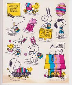 Vintage Hallmark Snoopy Woodstock Easter Sticker Sheet Peanuts *Yellowing* #Hallmark