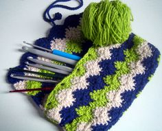 crochet hook case organic cotton make-up bag pencil case by aiakoo