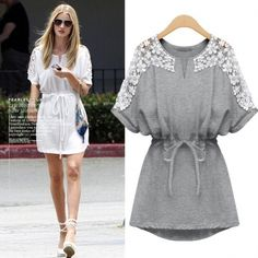 Pasting Flower Drawstring Waist Half Sleeve Cotton Dress