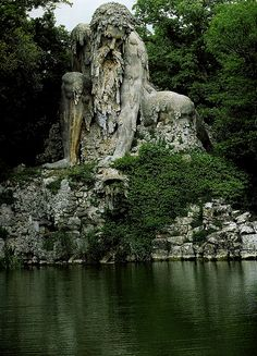 Colosso dell'Appennino, (The Apennine Colossus), by Giambologna, located at the Villa di Pratolino, in Tuscany, Italy, 12 km north of Florence.This statue/sculpture is 11 meters (36 feet) tall, and dates back to 1580!