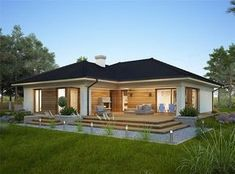Design of the Oceania II one-story house with an area with a spacious garage, with a roof . Bungalow Haus Design, Modern Bungalow House, Rustic Houses Exterior, Bungalow Exterior, Rustic Home Design, Home Design Plans, House Construction Plan, Village House Design, Beautiful House Plans
