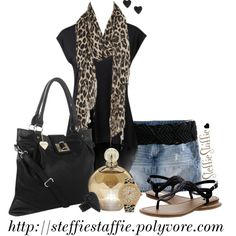 Spring Black & Leopard, created by steffiestaffie on Polyvore