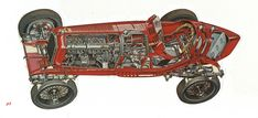 Alfa Romeo - Cross Section View Vintage Sports Cars, Vintage Race Car, Pedal Cars, Race Cars, Diy Car, Technical Drawing, Alfa Romeo, Old Cars, Cannon