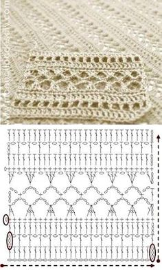 Tutorial: Crochet chart reading Explained nicely for a beginner.Discover thousands of images about Tutorial: Crochet chart readingCROCHET - Lovely Feminine Wide Boarder Lattice Stitch Pattern (Asian Pattern, Found on Russian Website (allmyhobby. Poncho Crochet, Crochet Shawl Diagram, Crochet Stitches Chart, Crochet Motifs, Filet Crochet, Easy Crochet, Crochet Lace, Tutorial Crochet, Stitch Patterns
