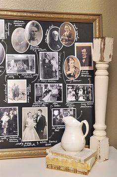 "Chalkboard Family Treecountryliving - could make a big ""frame"" with trim and chalkboard paint. May work for our large and grafted family tree"