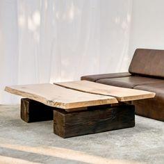 Stolik kawowy lity dębowy Drewno Design Welded Furniture, Table Furniture, Wood Table Design, Table Legs, New Homes, Loft, Studio, Home Decor, Interiors