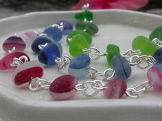 English sea glass - Some new bracelets that I have been working on. They will be added to our website soon www.naturalseaglass.com