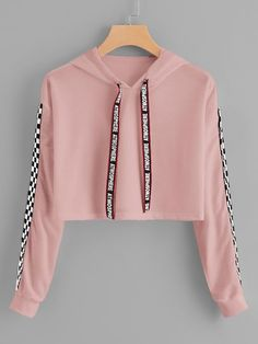 Hooded Sweatshirt Outfit for Women, Print Hooded Sweatshirt – Drawstring Hoodie Plaid Sweatshirt – Sweatshirt Girls Fashion Clothes, Teen Fashion Outfits, Mode Outfits, Fashion Women, Cute Comfy Outfits, Cute Girl Outfits, Pretty Outfits, Teenage Outfits, Outfits For Teens
