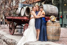 Bride with her mother and sister. Distillery District, Toronto Family photography. Toronto Wedding Photography