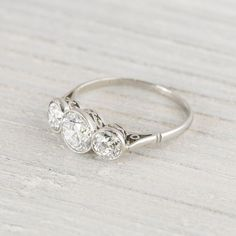 Carat Three Stone Vintage Art Deco New York Vintage & Antique Engagement Rings and Jewelry – Erstwhile Jewelry Co NY Deco Engagement Ring, Three Stone Engagement Rings, Antique Engagement Rings, Antique Rings, Antique Jewelry, Vintage Jewelry, Vintage Art, Vintage Rings, Vintage Silver